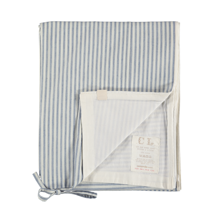 Camomile London Kids Bedding - Quilt Cover in Ticking Stripe Blue