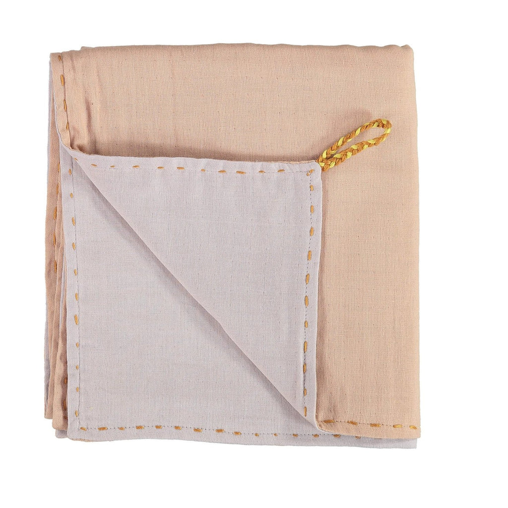 Camomile London Baby Swaddle Blanket - Peach Blossom and Ash