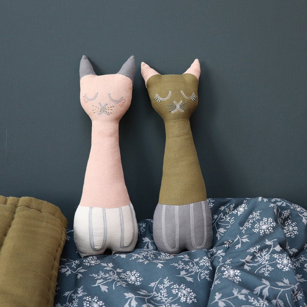 Camomile London Tall Cat Animal Cushion – Peach Blossom and Stone