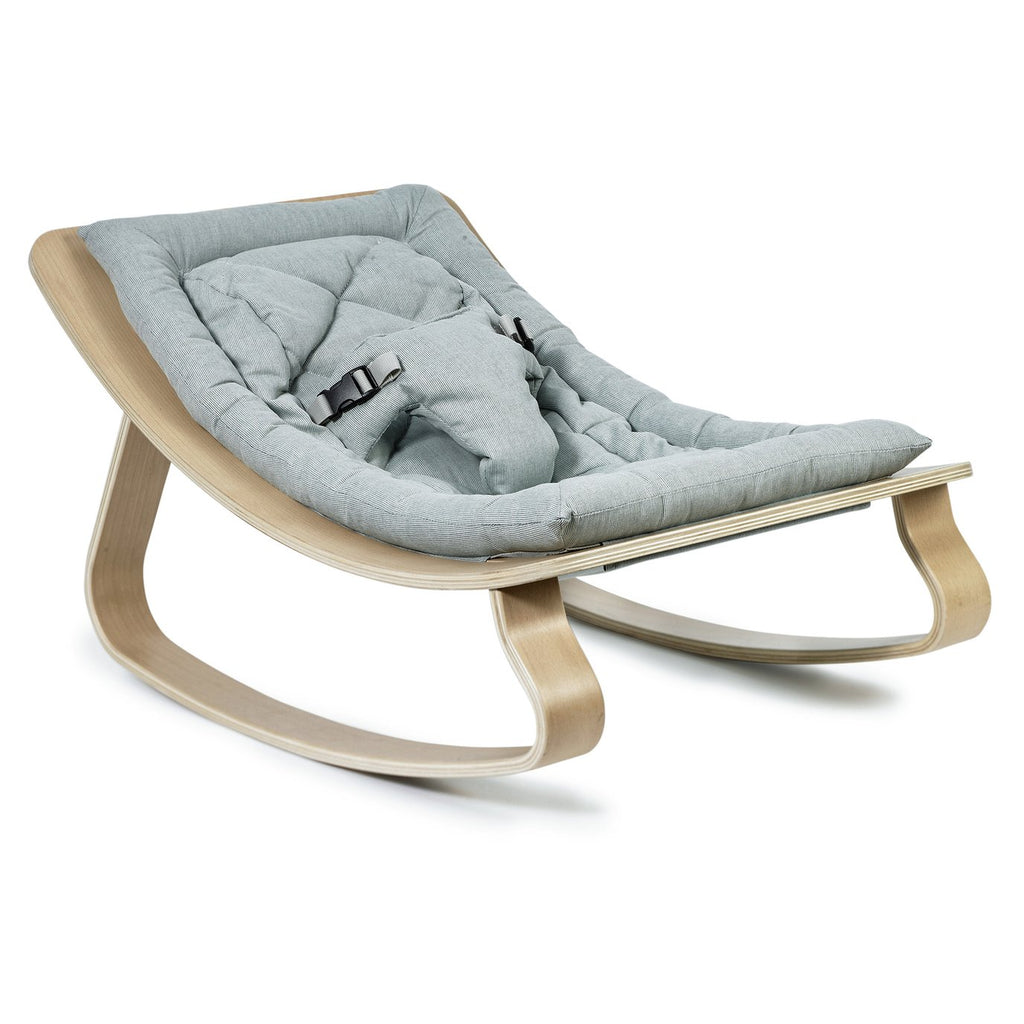 Charlie Crane Levo Baby Rocker in Beech with Aruba Blue cushion