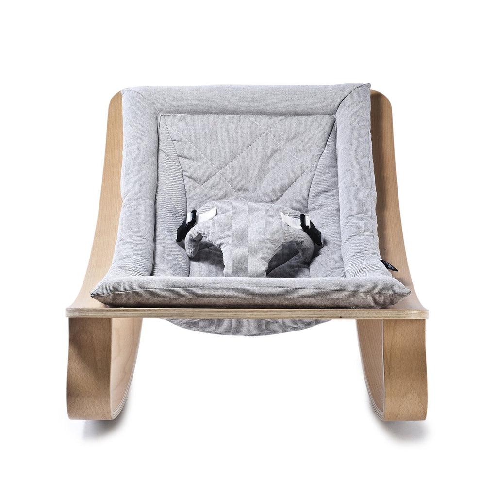 Charlie Crane Levo Baby Rocker in Beech with Sweet Grey cushion