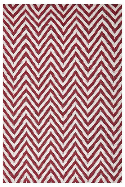 Flat Woven Chevron Rug red