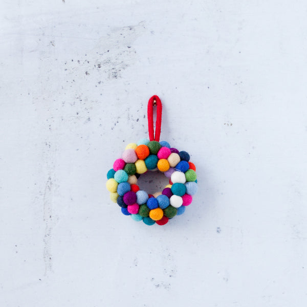 Christmas Decorations - Colourful Christmas Wreath Small