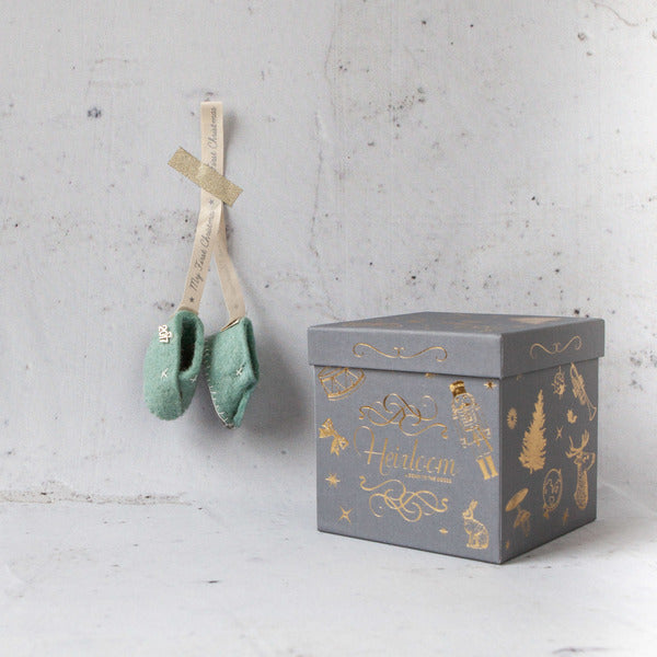 Christmas Decorations - My First Christmas Heirloom Booties Mint Blue