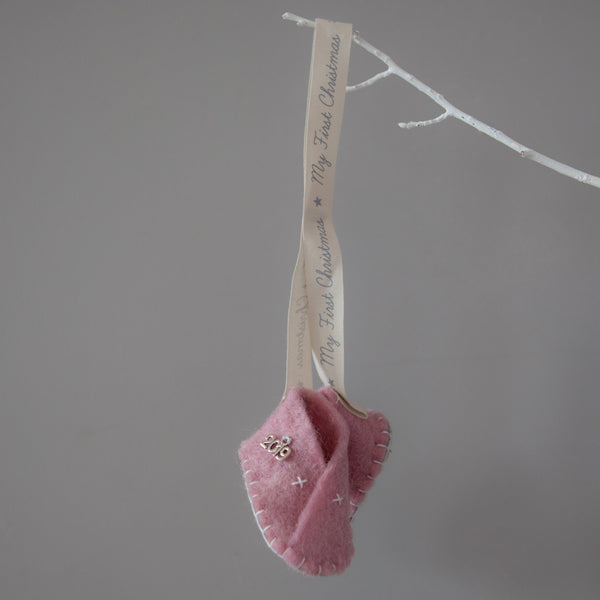 Christmas Decorations - My First Christmas Heirloom Booties Pink
