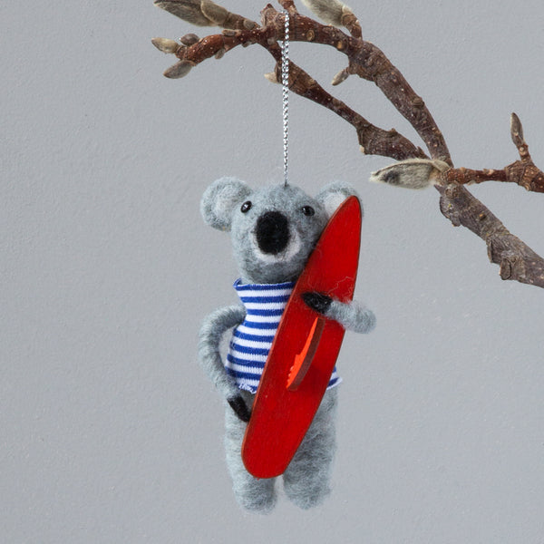 Christmas Decorations - Felt Koala with Surfboard