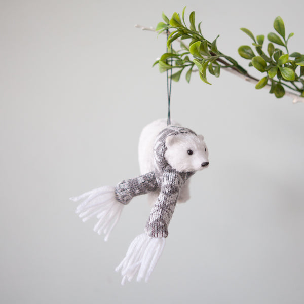 Christmas Decorations - Polar Bear With Scarf
