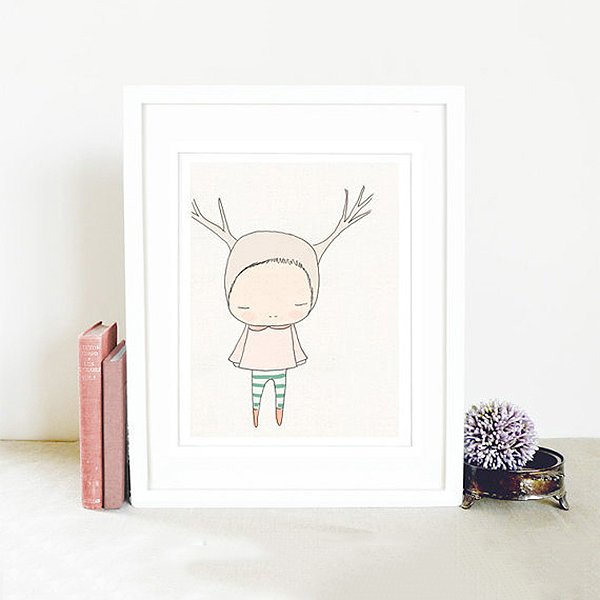 Nomuu Kids Wall Art  Reindeer Girl  Pink
