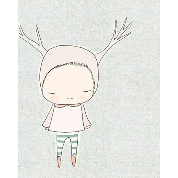 Nomuu Kids Wall Art Reindeer Girl  Blue