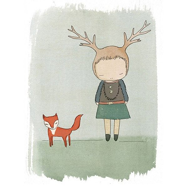 Nomuu Kids Wall Art  Fox and Deer Girl Art Print