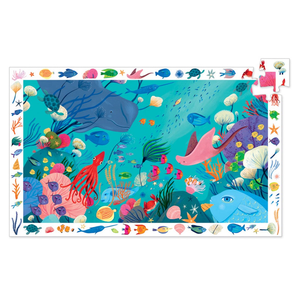 Djeco 54 Piece Observation Puzzle and Poster - Aquatic