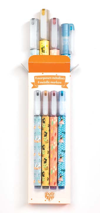 Djeco Kids Stationery - 4 Elodie Metallic Markers
