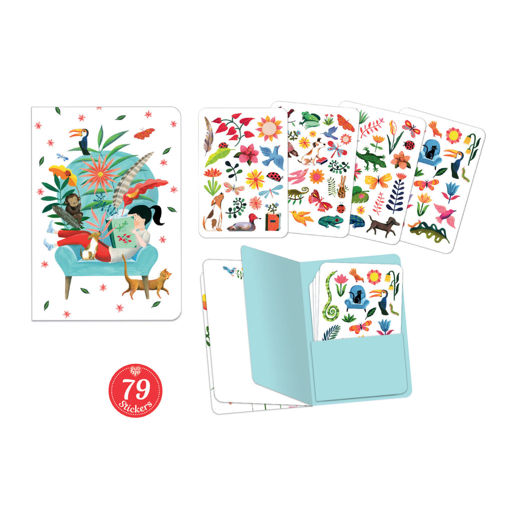 Djeco Kids Stationery - Sarah Notebook With 79 Stickers