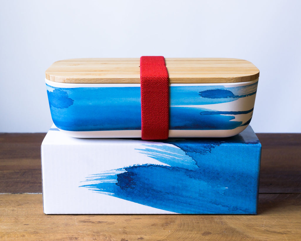 Emilie O'Connor Bamboo Kids Lunch Box - Blue Wave