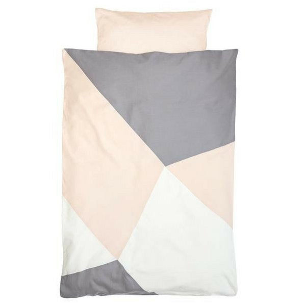 Fabelab Organic Cotton Printed Single Quilt Set Pink and Grey Alisan
