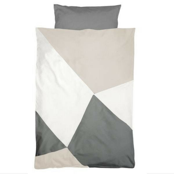 Fabelab Organic Cotton Printed Single Quilt Set Beige and Grey Dawn