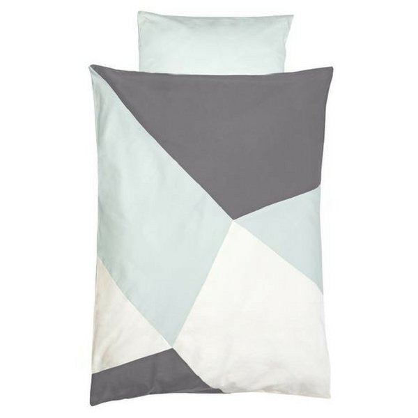 Fabelab Organic Cotton Printed Cot Quilt Set Blue and Grey Jade