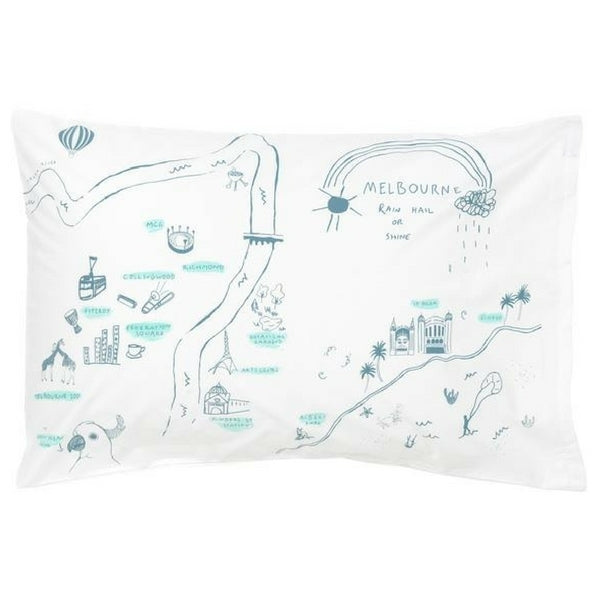 Melbourne Map Pillowcase Storm Blue and Mint