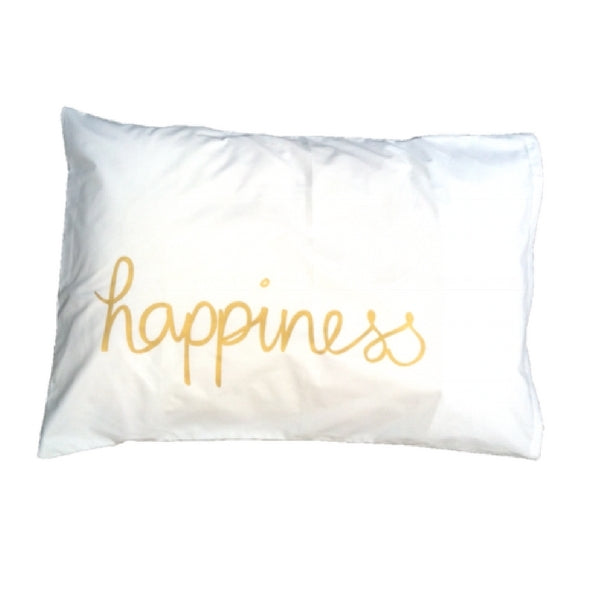 Feliz Organic Kids Bedding  Gold Happiness Pillowcase