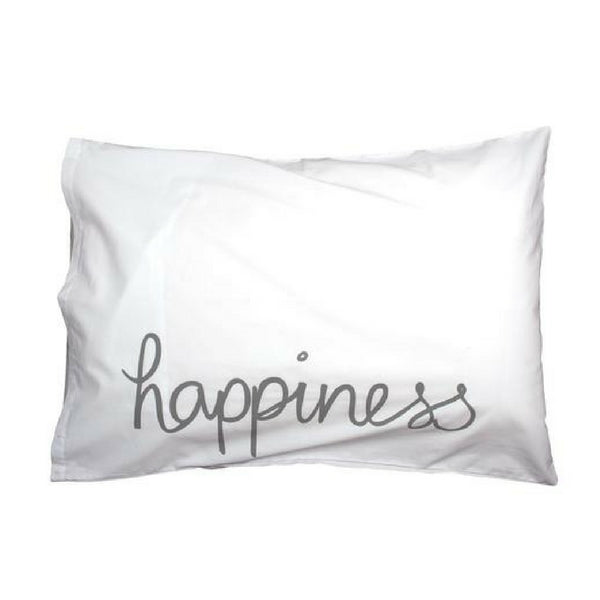 Feliz Organic Kids Bedding  Grey Happiness Pillowcase
