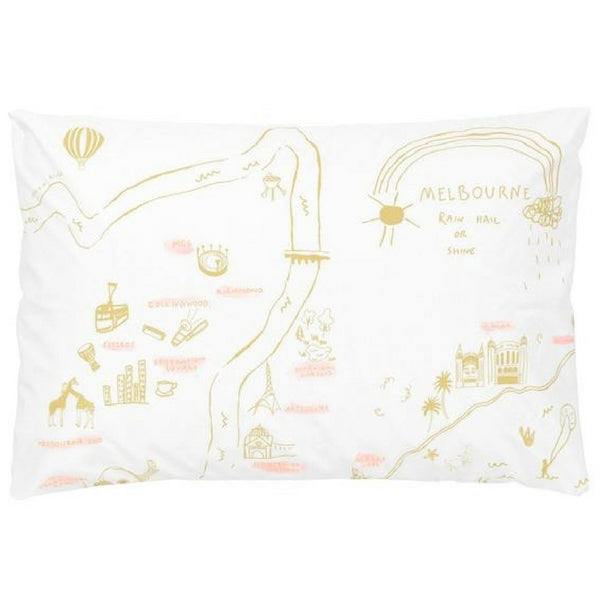 Melbourne Map Pillowcase Mustard and Pink