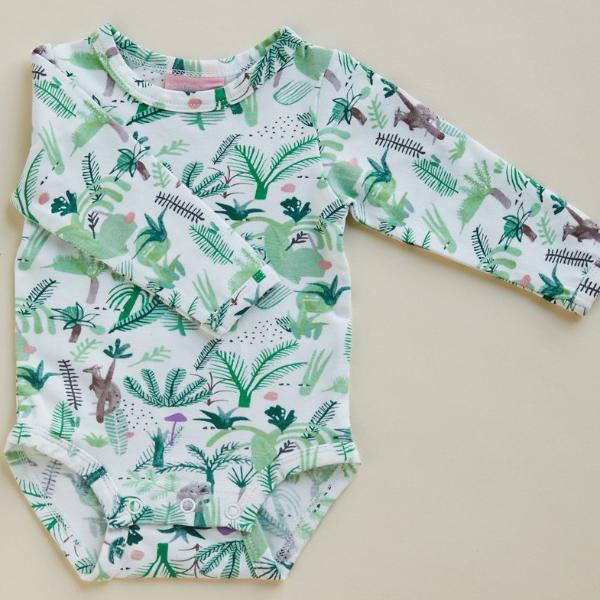 Halcyon Nights Baby Clothes  Fern Gully Longsleeve Bodysuit