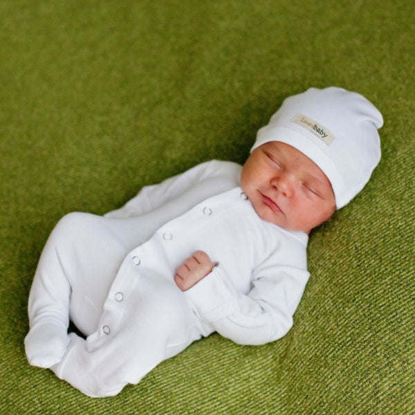 Loved Baby Organic Cotton Footed Onesie  White