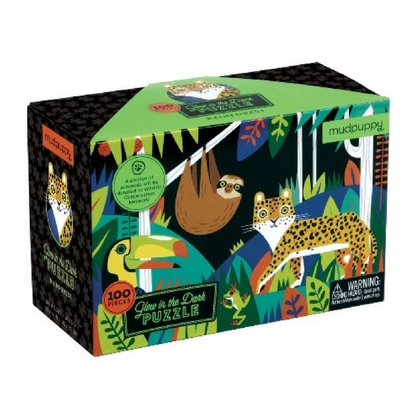 100 Piece Glow Puzzle Rainforest Animals