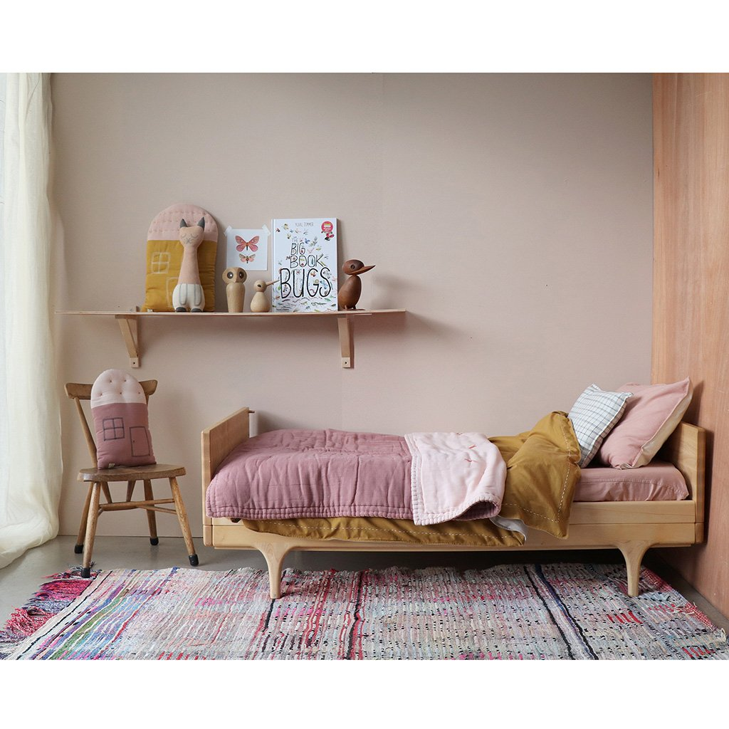 Camomile London Midi House Cushion – Ochre Body, Pearl Pink Roof