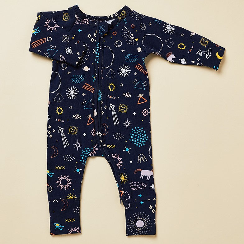 Halcyon Nights Baby Clothes  - Milky Way Long Sleeve Zip Onesie