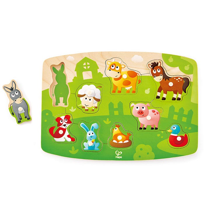 Hape Peg Puzzle Farmyard 9 Pieces