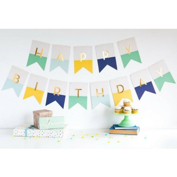 Kids Party Happy Birthday Party Banner Mint / Blue