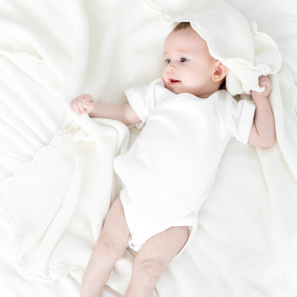 Zestt Organics - Organic Cotton Heirloom Baby Blanket in Soft White