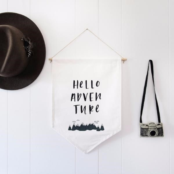 In The Daylight Hello Adventure Canvas Wall Flag