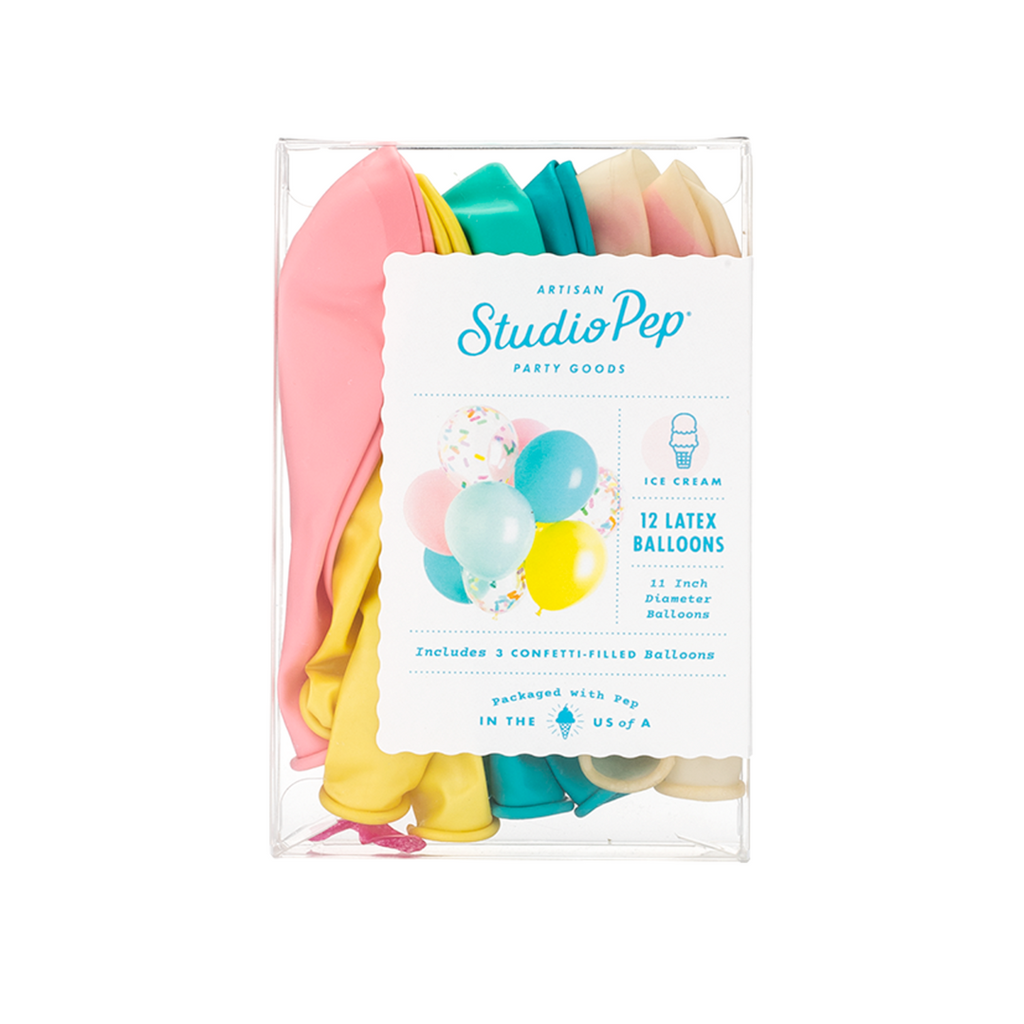 Studio Pep - Ice Cream Classic and Confetti Balloons 12 Pack