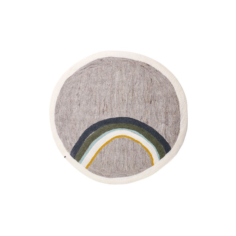 Muskhane Handmade Rainbow Kids Felt Round Rug - Light Stone and Stormy Grey