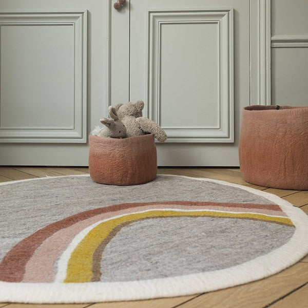 Muskhane Handmade Rainbow Kids Felt Round Rug - Light Stone and Coral