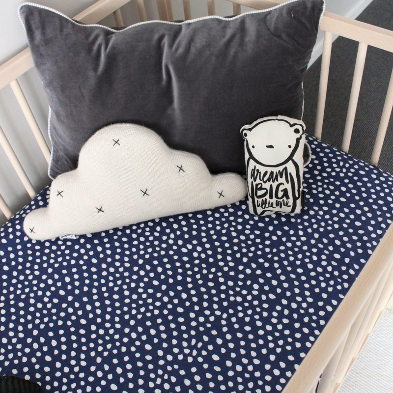 Ink Fitted Cot Sheet Blue and White