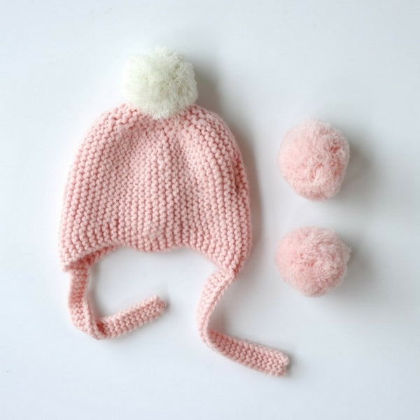 Le Edit Merino Kids Pom Pom Hat Pink
