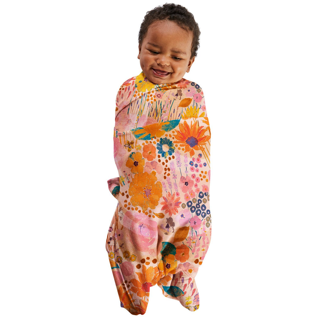 Kip and Co Baby Swaddle Wrap - Pinky Field of Dreams