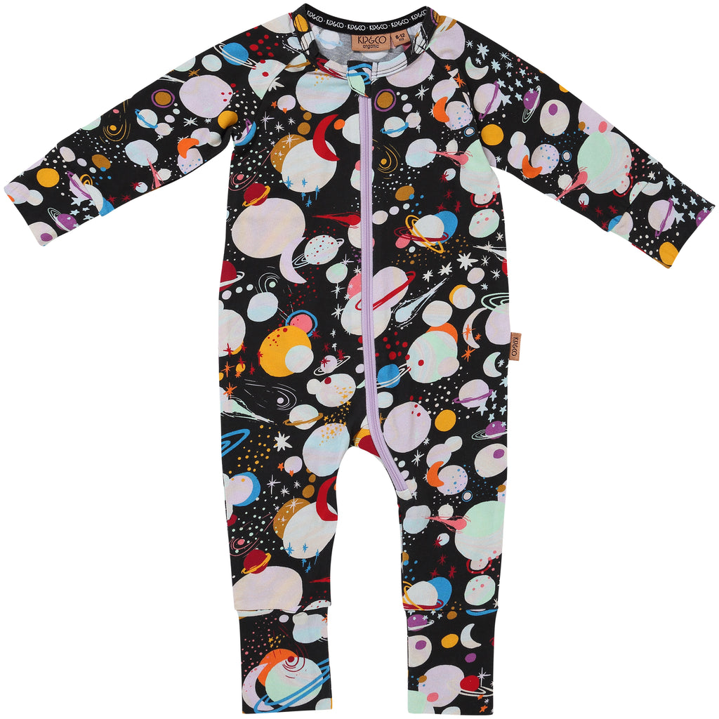 Kip and Co Organic Baby Zip Onesie - Planet Kip