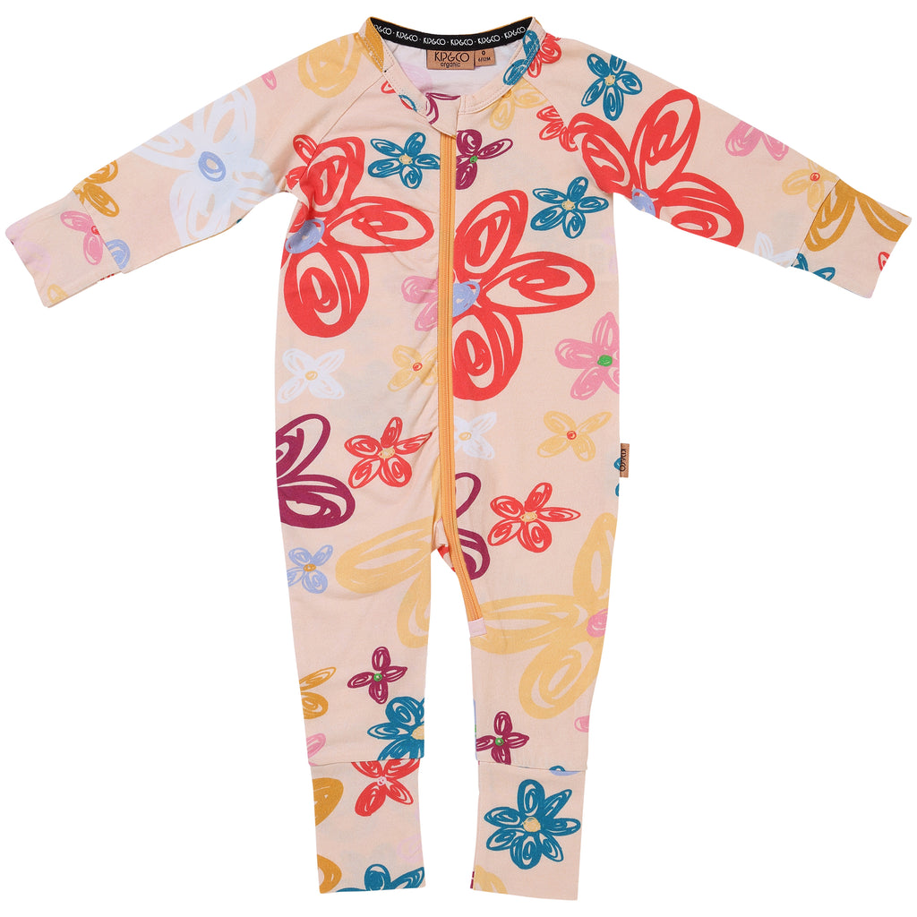 Kip and Co Organic Baby Zip Onesie - Pansy