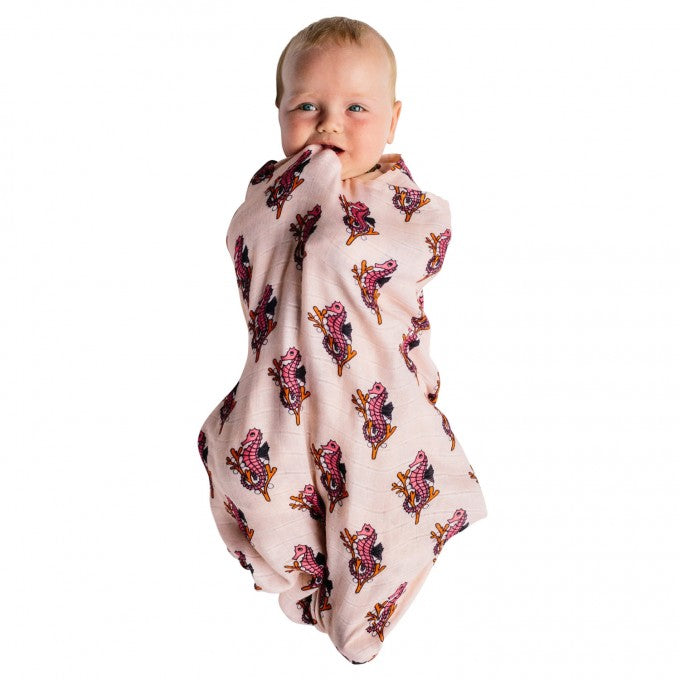 Kip & Co x Hugo Loves Tiki Seahorses Bamboo Baby Swaddle Wrap