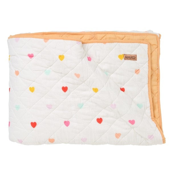 Kip & Co I Heart You Rainbow Quilted Bedspread