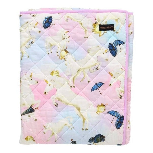 Animalia X Kip&Co Unruly Unicorns Quilted Cot Bedspread