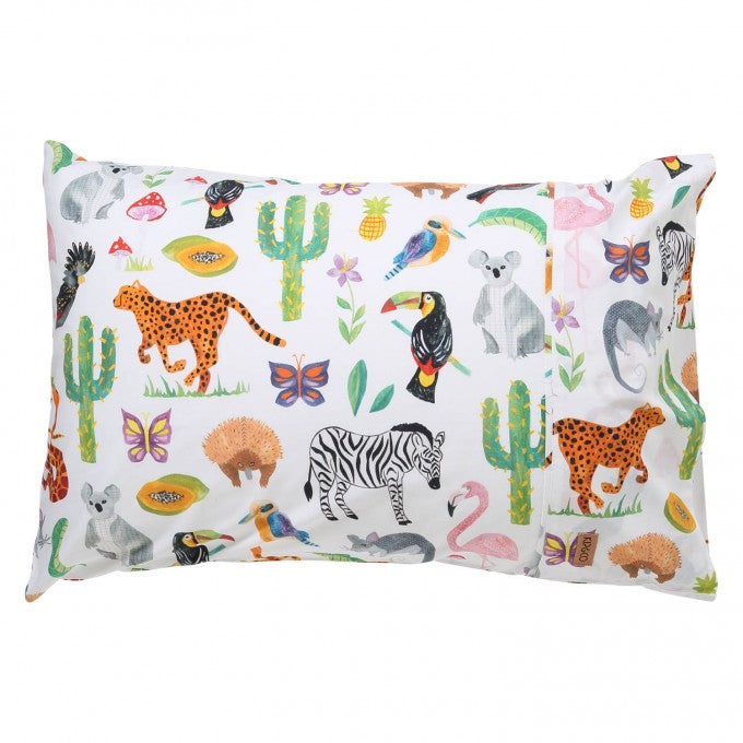 Kip & Co Jungle Animal Cotton Pillowcase