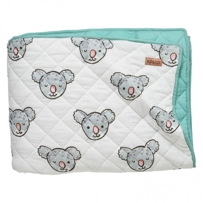Kip & Co Koala Cotton Quilted Blanket or Bedspread - Cot