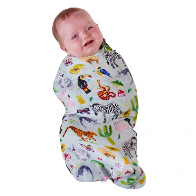 Kip & Co Jungle Animal Bamboo Swaddle Wrap
