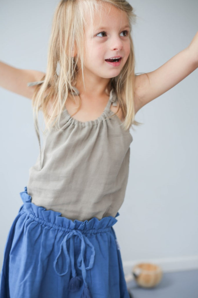 Le Edit Baby Clothes  Linen Ava Skirt in Sky Blue