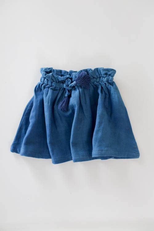 Le Edit Baby Linen Ava Skirt - Sky Blue